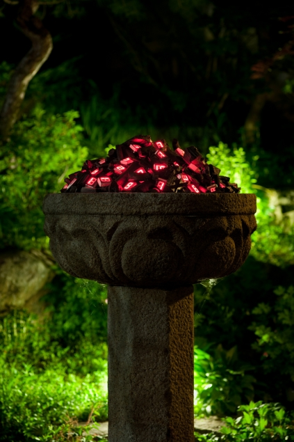 Time Fire in the Stone lantern